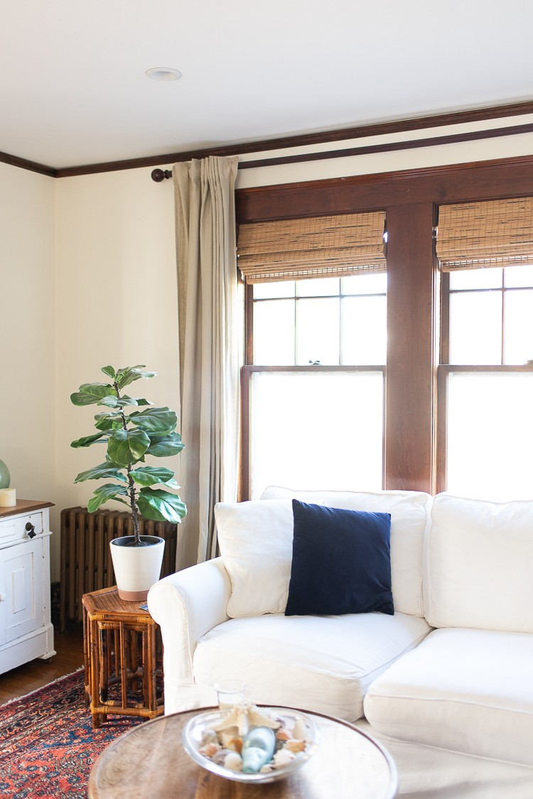 By simply adding bamboo shades to her home, Danielle Driscoll of Finding Silver Pennies created a relaxed, coastal feel that is inviting to guests.