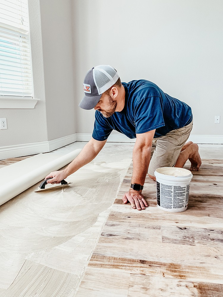 Faux Farmhouse Flooring Makeover with Lifeproof Sheet Vinyl