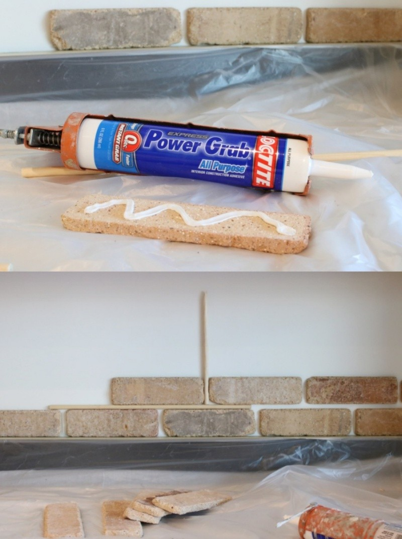 DIY Brick Backsplash with German Schmear