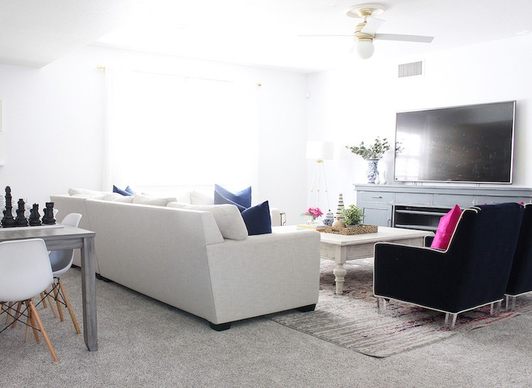 Family Media Room Flooring Update with LifeProof Carpet